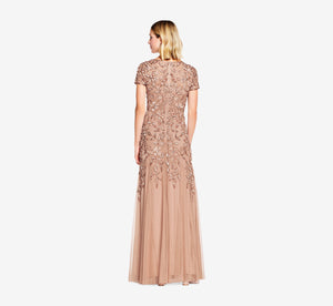 Hand Beaded Short Sleeve Floral Godet Gown In Rose Gold