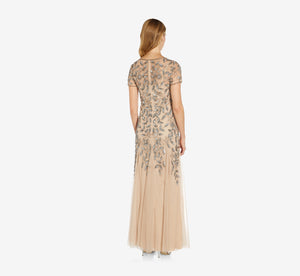 Petite Hand Beaded Short Sleeve Floral Godet Gown In Taupe Pink