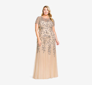 Plus Size Hand Beaded Short Sleeve Floral Godet Gown In Taupe Pink
