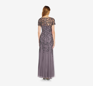 Petite Hand Beaded Short Sleeve Floral Godet Gown In Moonscape