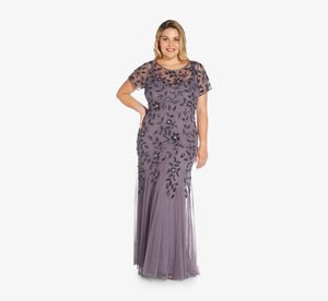 Plus Size Hand Beaded Short Sleeve Floral Godet Gown In Moonscape
