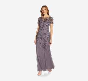 Hand Beaded Short Sleeve Floral Godet Gown In Moonscape