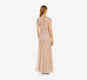 Petite Hand Beaded Short Sleeve Floral Godet Gown In Blush