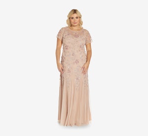 Plus Size Hand Beaded Short Sleeve Floral Godet Gown In Blush