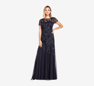 Petite Hand Beaded Short Sleeve Floral Godet Gown In Twilight