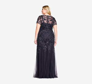 Plus Size Hand Beaded Short Sleeve Floral Godet Gown In Twilight