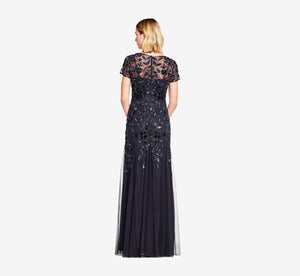 Hand Beaded Short Sleeve Floral Godet Gown In Twilight