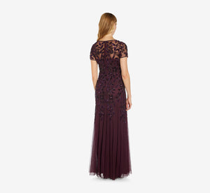 Petite Hand Beaded Short Sleeve Floral Godet Gown In Night Plum