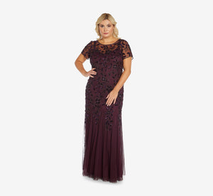 Plus Size Hand Beaded Short Sleeve Floral Godet Gown In Night Plum