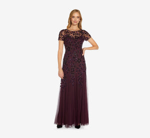 Hand Beaded Short Sleeve Floral Godet Gown In Night Plum