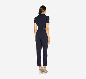 Crepe Jumpsuit With Charmeuse Accents In Midnight