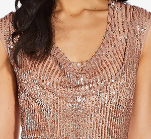 Sequin Cowl Neck Dress In Rose Gold