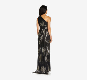 Petite One-Shoulder Draped Gown In Black Gold