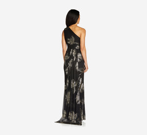 One-Shoulder Draped Gown In Black Gold