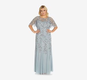 Plus Size Long Floral Beaded Gown With Flutter Sleeves In Blue Heather