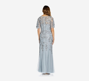 Long Floral Beaded Gown With Flutter Sleeves In Blue Heather