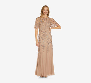 Petite Long Floral Beaded Gown With Flutter Sleeves In Rose Gold