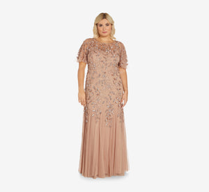 Plus Size Long Floral Beaded Gown With Flutter Sleeves In Rose Gold
