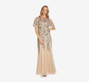 Long Floral Beaded Gown With Flutter Sleeves In Taupe Pink