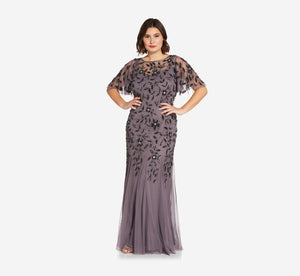 Plus Size Long Floral Beaded Gown With Flutter Sleeves In Moonscape