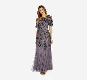 Petite Long Floral Beaded Gown With Flutter Sleeves In Moonscape