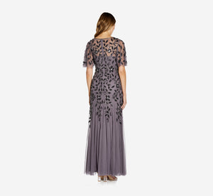 Long Floral Beaded Gown With Flutter Sleeves In Moonscape