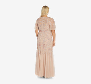 Plus Size Long Floral Beaded Gown With Flutter Sleeves In Blush