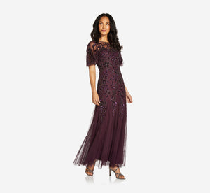 Long Floral Beaded Gown With Flutter Sleeves In Night Plum