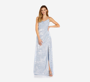Shimmering Cowl Neck Gown With Spaghetti Straps In Sky Blue