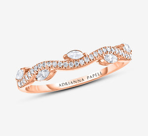 Adrianna Papell Diamond Anniversary Band 1/3 Ct Tw Round/Marquise-Cut 14K Rose Gold In Rose Gold