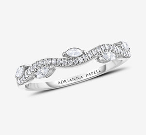 Adrianna Papell Diamond Anniversary Band 1/3 Ct Tw Round/Marquise-Cut 14K White Gold In White Gold