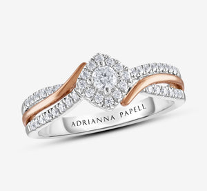 Adrianna Papell Diamond Engagement Ring 1/4 Ct Tw 14K Two-Tone Gold In Gold