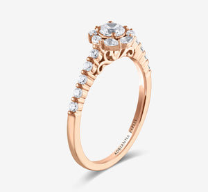 Adrianna Papell 5/8 Ctw Halo Diamond Engagement Ring In Rose Gold