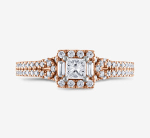 Adrianna Papell 1/2 Ctw Diamond Engagement Ring In Rose Gold