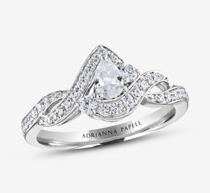 Adrianna Papell 5/8 Ctw Diamond Engagement Ring In White Gold
