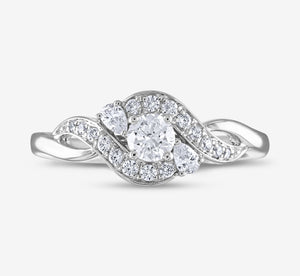 Adrianna Papell Sparkle Diamond 5/8 Ctw Engagement Ring In White Gold
