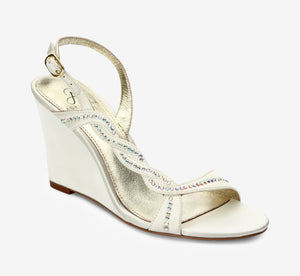 Attitude Crystal Satin Wedge In Ivory