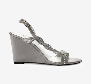 Attitude Crystal Satin Wedge In Pewter