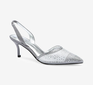 Hanah Sling Back Heel With Crystals In Pewter