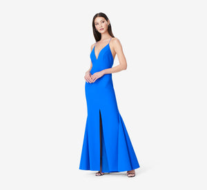 Sleeveless Mermaid Dress With Plunging Neckline In Azure