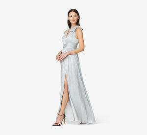 V-Neck Pleated Mesh Ball Gown In Silver