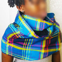 Snood Madras bleu/rouge