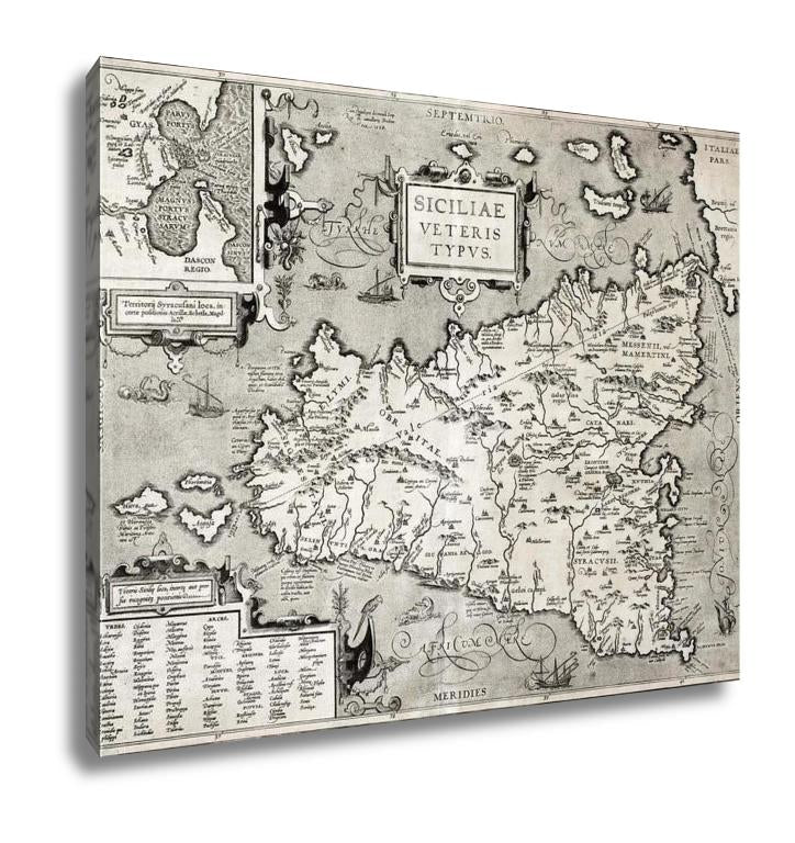 Gallery Wrapped Canvas, Sicily Old Map With Syracuse Detail