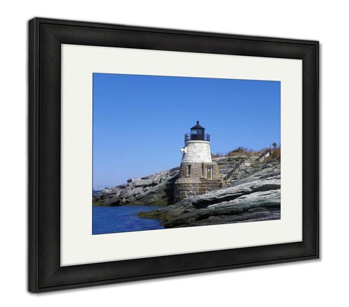 Framed Print, Castle Hill Lighthouse Rhode Island USA