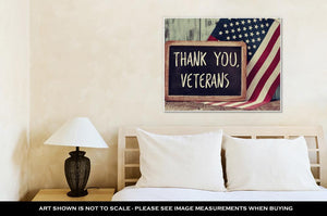 Gallery Wrapped Canvas, The Text Thank You Veterans Written In A Chalkboard And A Flag Of The United