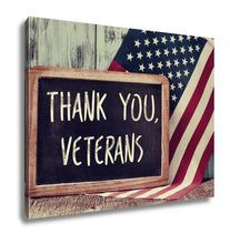 Load image into Gallery viewer, Gallery Wrapped Canvas, The Text Thank You Veterans Written In A Chalkboard And A Flag Of The United