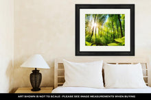 Load image into Gallery viewer, Framed Print, Scenic Forest Of Fresh Green Deciduous Trees Framed By Leaves With The Sun