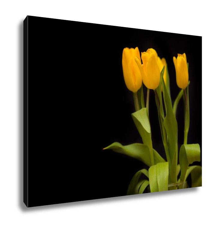 Gallery Wrapped Canvas, Yellow Tulips On A Dark