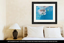 Load image into Gallery viewer, Framed Print, Playful Jack Russell Terrier Puppy In Swimming Pool Has Fun Dog Jump And Dive