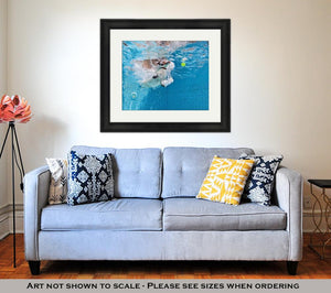 Framed Print, Playful Jack Russell Terrier Puppy In Swimming Pool Has Fun Dog Jump And Dive